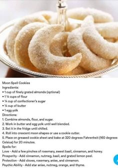 Baking Recipes, Cookie Recipes, Dessert Recipes, Wicca Recipes, Samhain Recipes, Moon Cookies, Macarons, Cookies Ingredients, Just Desserts
