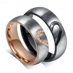 Fashion New High Quality Rose Simulated Titanium Steel Rings Lover Heart Couple Rings Male And Female 1 Pair Jewelry Accessory Cheap Promise Rings, Promise Rings For Couples, Couple Rings, Rings For Men, Wedding Ring For Him, Wedding Ring Bands, Heart Shaped Rings, Halo Engagement Rings, Wedding Engagement