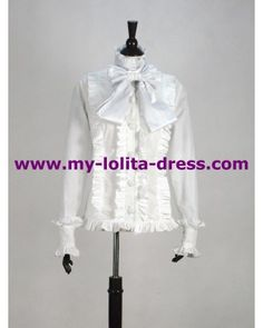 White Cotton Bowtie Lolita Shirt #lolita  #shirt