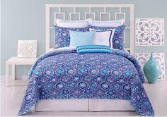 Love this Trina Turk Caprice Medallion Bedding Dream Bedroom, Master Bedroom, Bedroom Decor, Bedroom Ideas, Blue Bedroom, Master Suite, Cozy Bedroom, Coverlet Bedding, Bedding Sets