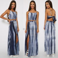 Sexy Women Two Piece Set Spaghetti Strap Backless Crop Tops High Waist Split Pencil Maxi Dress Material: Polyester Color: As show the picture Item: Tops and Dre