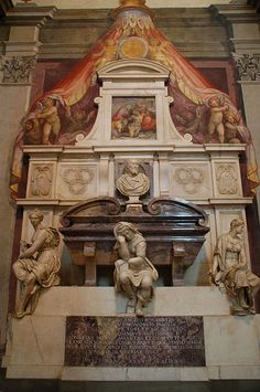 Michelangelo's tomb in the Basilica di Santa Croce in Florence, Italy