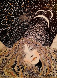 Mystical style illustration of a woman on a magical moon night. Art Inspo, Art Sketches, Art Drawings, Psy Art, Art Et Illustration, Art Illustrations, Psychedelic Art, Art Design, Oeuvre D'art