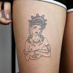 Hand-poked tattoo by @taticompton...❁The goddess Bachué for Devon❁ #breastfeeding #sticknpoke #breastfeedingart #tattoo #motherhood #goddess #bachue #breastfeedingink