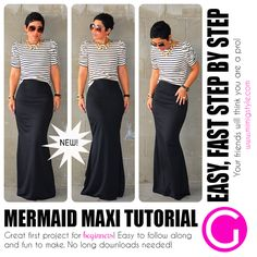 Diy Sewing Projects Image of Mermaid Maxi Tutorial - Step by Step VIDEO Tutorial. Great for Beginners and Intermediate Seamstresses. The PDF file attached in the email you will receive after. Sewing Hacks, Sewing Tutorials, Sewing Projects, Sewing Patterns, Video Tutorials, Sewing Diy, Free Sewing, Sewing Basics, Look Fashion