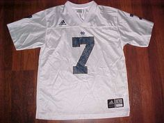 adidas NCAA Notre Dame Fighting Irish 7 Boys White Blue Football Jersey L…