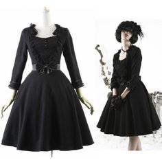 Black Wool Long Sleeve Audrey Hepburn Breakfast At Tiffany S Gothic Winter Party Dresses