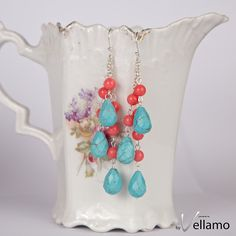 Summer colors earrings, blue turquoise with pink coral, long dangling, rich cascading earrings, sterling silver statement ear-rings - pinned by pin4etsy.com