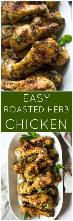 Easy Roasted Herb Chicken - the most delicious roasted chicken you will ever have. Super easy to make with hardly any clean up! | littlebroken.com @littlebroken