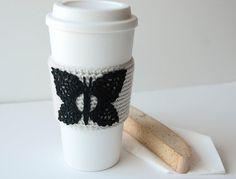 Butterfly Coffee Cozy crocheted black butterfly by TableTopJewels, $17.50