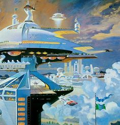 Robert Theodore McCall (December 1919 – February was a conceptual artist, known particularly for his works of space art. McCall was an illust. Sci Fi Kunst, Science Fiction Kunst, Illustrations Vintage, Sci Fi City, 70s Sci Fi Art, Retro Futuristic, Futuristic Architecture, Sci Fi Fantasy, Space Fantasy
