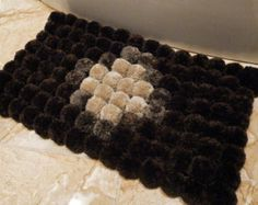 Playful Pom pom rug /handmade bathroom mat/home by ChunkyKnitworks