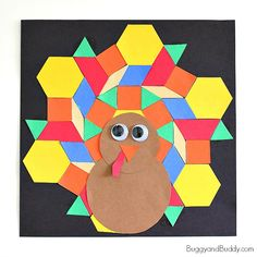 Here's a classic math activity for kids perfect for the Thanksgiving season- a pattern block turkey craft! Children will explore shapes and rotational symmetry while making these colorful turkeys for Thanksgiving!