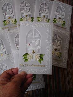 Primera Comunión First Communion Cards, Première Communion, Baptism Cards, Vellum Crafts, Paper Crafts, Parchment Design, Parchment Cards, Religious Symbols, Create And Craft