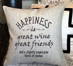 Our pillows have coordinated sayings and original designs on the front and back…two fabulous looks for the price of one. Order is for one pillow cover and insert with the designs shown on each side. O
