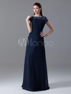 Dark Navy Jewel Neck Short Sleeves Beading A-line Zipper Chiffon Fashionable Little Black Dress - Milanoo.com