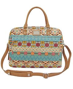 Kate Colorful Bohemian Strip Flower Canvas PVC Women Laptop Bag - To die for Backpack Purse, Crossbody Bag, Tote Bag, Computer Bags, Laptop Computers, My Bags, Purses And Bags, Laptop Bag For Women, Laptop Shoulder Bag