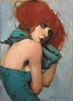 Artist: Malcolm T. Liepke (b. 1954), oil on canvas {contemporary figurative #expressionist beautiful redhead woman face portrait oil painting} Mysterious !!