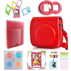 Hellohelio 7in1 Accessories Bundle Set for Instax Mini 8 8 Instant Film Camera  Rasberry -- You can find out more details at the link of the image.