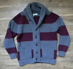 Scott & Charters Lambswool Fisherman Shawl Collar Cardigan Sweater (Made in Scotland).  Available now in our eBay shop!