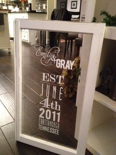 RESERVED Hand-Painted Vintage Antique Wedding Welcome Window. $75.00, via Etsy.