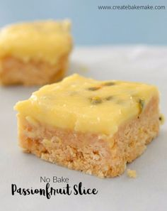Easy No Bake Passionfruit Slice recipe - a great dessert! Both regular and Thermomix instructions included. Passionfruit Slice, Passionfruit Recipes, Dessert Simple, Baking Recipes, Cake Recipes, Dessert Recipes, Thermomix Desserts, Thermomix Recipes Healthy, Crack Crackers