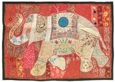 Elephant Patchwork on Cloth and Enhanced with Mirrorwork, Zari, Sequins and Beadwork (Old Cloths, Sequins, Beads and Mixed Materials - Unframed))