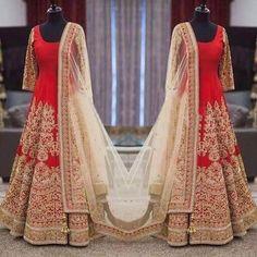 Silk Zari Work Red Semi Stitched Long Anarkali Suit - 517 at Rs 5000