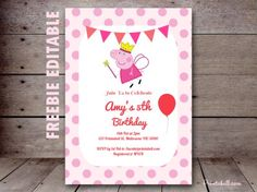 free peppa pig invitation editable princess peppa