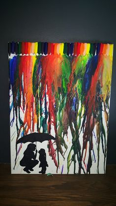 I made this Melted crayon art birthday gift for my mom