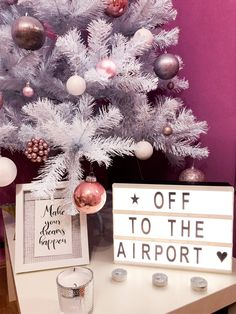 Christmas travel airport photo ideas traveler xmas tree white tree rose gold bulbs sweet home Airport Photos, Rose Trees, Christmas Travel, Xmas Tree, Bulbs, Photo Ideas, Christmas Wreaths, Sweet Home, Rose Gold