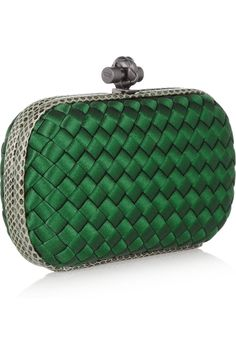 Bottega Veneta -  The Knot watersnake-trimmed Intrecciato satin clutch in emerald green. $1,550