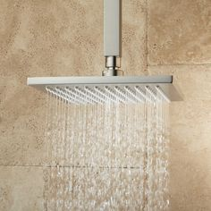 Devereaux Ceiling Mount Shower Head with Square Arm - Rainfall Shower Heads - Shower Heads - Bathroom