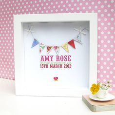 personalised baby girl bunting artwork by sweet dimple | notonthehighstreet.com
