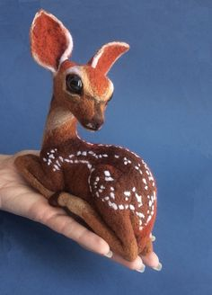 My new soft sculpture - a baby deer. I love deers, and who does not like fawns?)) This fawn is felted of russian and italian merino wool; Little Deer Needle Felted Animals, Felt Animals, Wet Felting, Needle Felting, Bambi, 3d Figures, Baby Deer, Felt Toys, Felt Art