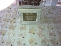 Puzzle piece name assignment cards. Game themed wedding