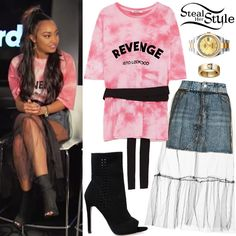 Leigh-Anne Pinnock Little Mix appeared on a Facebook Live Stream With Billboard in New York today. Leigh-Anne Pinnock wore a Zara T-Shirt With Text and Belt ($22.90), a Topshop Moto Tulle Overlay Denim Skirt ($68.00), her Rolex Datejust II Watch ($13,295.00), a Cartier LOVE Yellow Gold Diamond Ring ($3,500.00) and Ego Amelia Peep Toe Ankle Boots ($56.51).