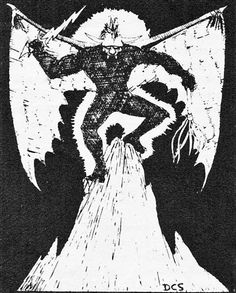 """Type VI Demon. (David Sutherland, AD&D Monster Manual, TSR, 1977.) The first D&D booklets mentioned Balrogs. That word was edited out of later editions, but the Type VI has the form, the sword and multi-tailed whip, and one individual's unique name happens to be """"Balor""""."""