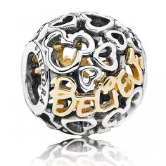 """Beautiful two-tone """"Believe"""" charm from Pandora's new Disney collection. Available in store. #pandora #disney #mickeymouse #rommdiamonds"""