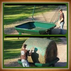 Round bale hay feeder, need to make sure there is a latch for hay net and holes in bottom for drainage!