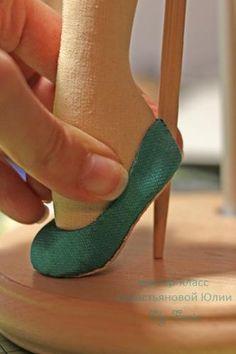 Туфли на каблуке для текстильной куклы. Способ без колодки. - Ярмарка Мастеров - ручная работа, handmade