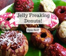 Yes you have read correctly, Jelly Freaking Donuts! Whether your sweet tooth is massive or tiny these raw vegan delights will totally hit the spot. Raw Vegan, Doughnut, Donuts, Jelly, Sweet Tooth, Desserts, Food, Frost Donuts, Tailgate Desserts