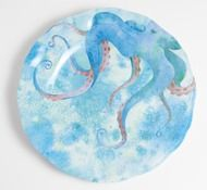 Blue Octopus Dinner Plates - Set of 4