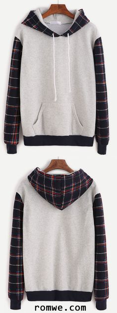 Grey Plaid Contrast Sleeve Drawstring Hooded Sweatshirt