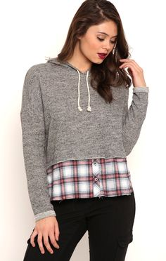 Deb Shops Long Sleeve French Terry Hoodie with Plaid Layer $16.80