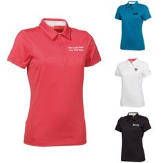 "Custom Printed Women's Puma Golf Tech Polo Shirts: Available Colors: White, Rouge Red, Turkish Tile, Black. Imprint Area: Centered on Left Chest 3.00"" H x 3.00"" W, Centered on Right Chest 3.00"" H x 3.00"" W. Product Size: XS, S, M, L. Carton Weight: 17 lbs. Packaging: 36 pieces. Material: Polyester. #promotionalproduct #customproduct #customgolfproduct #Custompoloshirt"