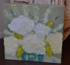 Just my friend Alli being awesome.//Oil Hydrangea Painting Free Shipping by thehillhouse on Etsy, $110.00