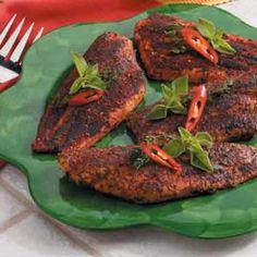 Cajun-Style Catfish:  4 servings;  236 calories, 13 g fat per serving; Diabetic Exchanges: 4 lean meat, 1/2 fat