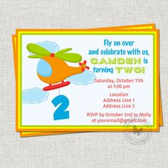 Helicopter Birthday Invitation Little Pilot by ConfettiFete Helicopter Birthday, 3rd Birthday, Birthday Parties, Birthday Invitations, Rsvp, Pilot, Masons, Baby Ideas, Party
