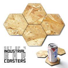 Industrial Hexagonal OSB Wood Bar Coasters, Set of Four